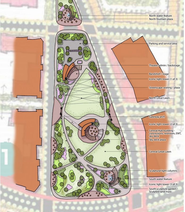 This is a concept plan for a 12-acre park in the 225-acre Veridian Development on the former Motorola Solutions corporate campus at the southwest corner of Algonquin and Meacham roads in Schaumburg.