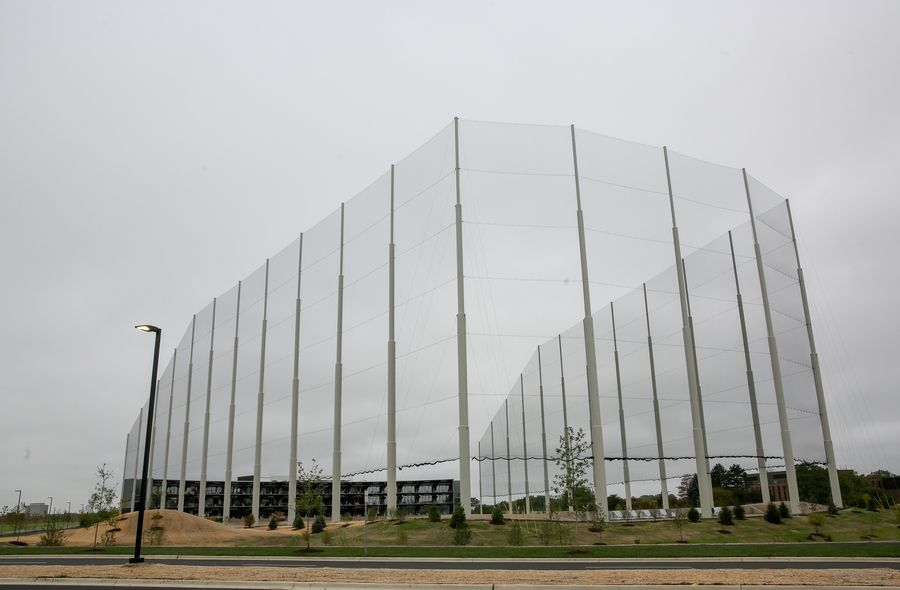 The netting is up for the Topgolf under construction at the west end of the former Motorola Solutions corporate campus in Schaumburg.
