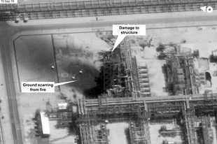 This image provided on Sunday, Sept. 15, 2019, by the U.S. government and DigitalGlobe and annotated by the source, shows damage to the infrastructure at at Saudi Aramco's Kuirais oil field in Buqyaq, Saudi Arabia. The drone attack Saturday on Saudi Arabia's Abqaiq plant and its Khurais oil field led to the interruption of an estimated 5.7 million barrels of the kingdom's crude oil production per day, equivalent to more than 5% of the world's daily supply. (U.S. government/Digital Globe via AP)