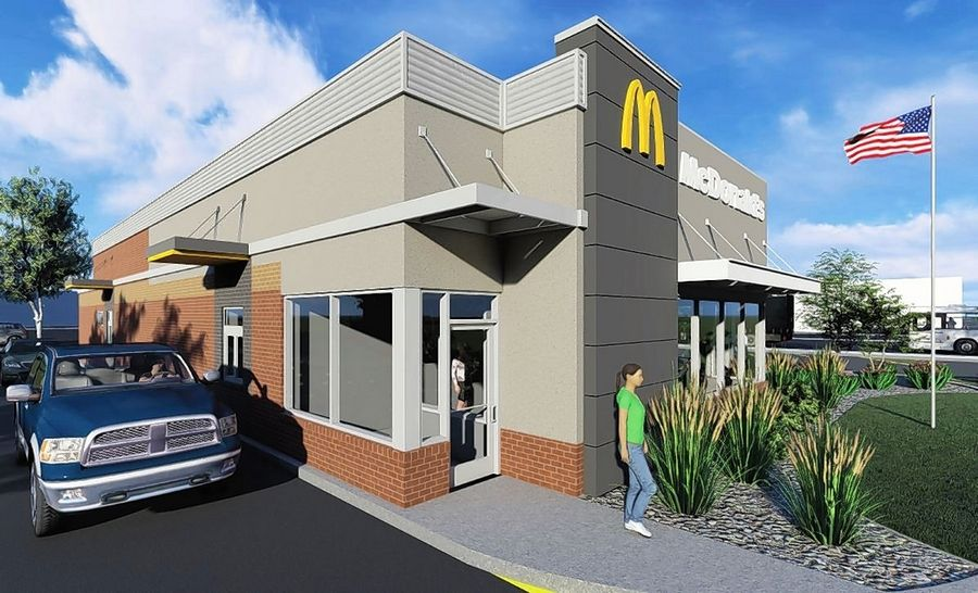 A sketch shows the proposed exterior renovations to the McDonald's at 45 E. Golf Road in Arlington Heights. A double drive-through lane and interior upgrades are also planned.