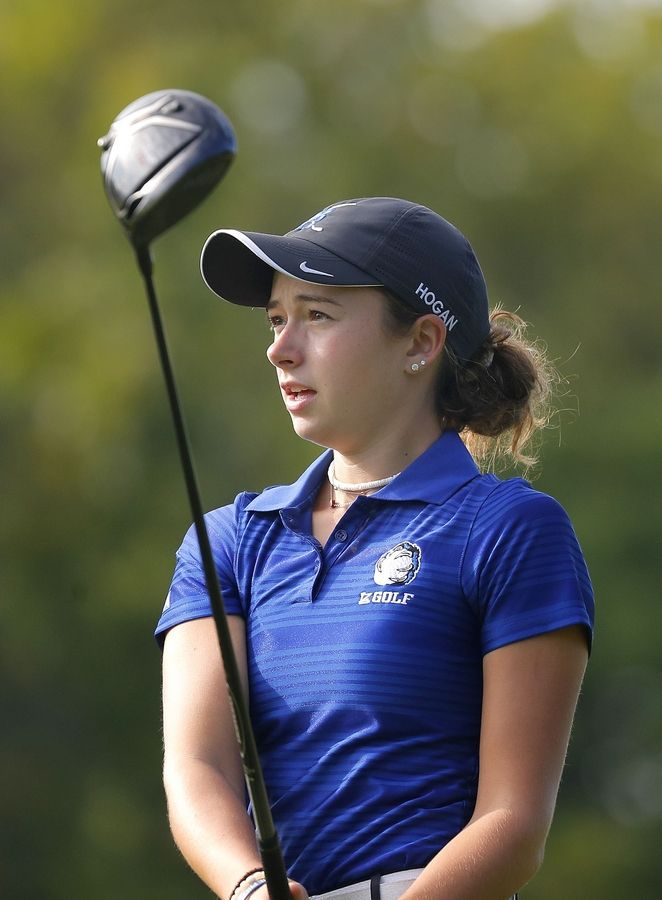 Lake Zurich's Bryana Hogan hits a drive during their match against Mundelein at Ivanhoe Club Tuesday.