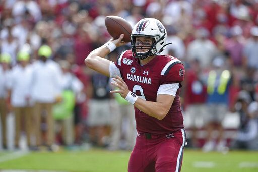 South Carolina quarterback Ryan Hilinski throws a pass during the first half of an NCAA college football game against Alabama Saturday, Sept. 14, 2019, in Columbia, S.C.