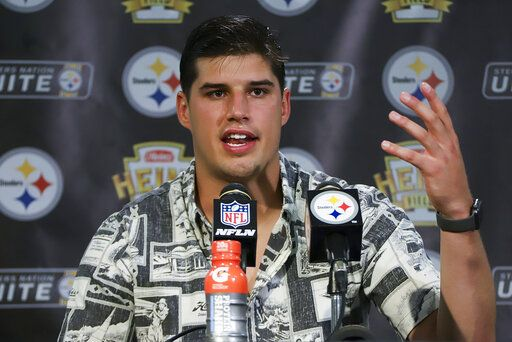Pittsburgh Steelers quarterback Mason Rudolph meets with reporters after an NFL football game against the Seattle Seahawks in Pittsburgh, Sunday, Sept. 15, 2019.