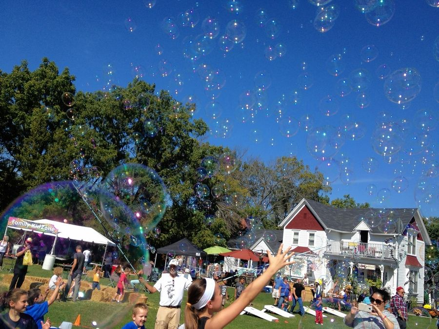 Kids can enjoy bubbles and more in the kids' zone at the Long Grove Apple Fest this weekend.