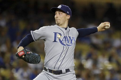 Tampa Bay Rays starting pitcher Blake Snell throws to a Los Angeles Dodgers batter during the first inning of a baseball game in Los Angeles, Tuesday, Sept. 17, 2019.