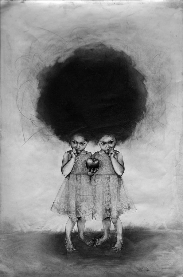 Mayhew uses graphite for its ethereal, silvery effects.  Mays Mayhew