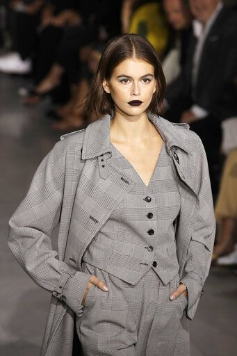 Model Kaia Gerber wears a creation as part of the Max Mara Spring-Summer 2020 collection, unveiled during the fashion week, in Milan, Italy, Thursday, Sept. 19, 2019.