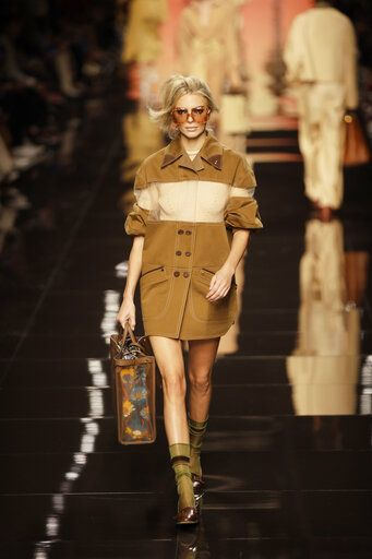A model wears a creation as part of the Fendi Spring-Summer 2020 collection, unveiled during the fashion week, in Milan, Italy, Thursday, Sept. 19, 2019.