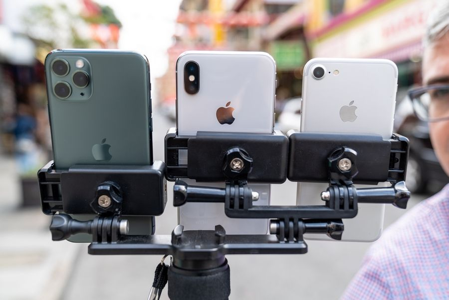 A three-way selfie stick, nicknamed the Triclops, helps The Washington Post's Geoffrey A. Fowler test three camera phones at once. Washington Post photo by James Pace-Cornsilk