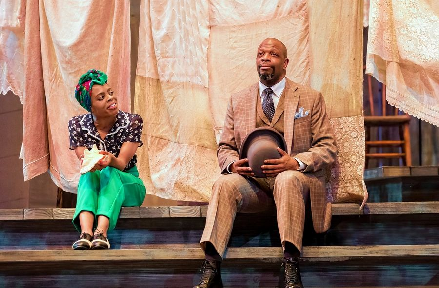 "Celie (Eben K. Logan) and Mister (Melvin Abston) try to make peace in ""The Color Purple"" at Drury Lane Theatre in Oakbrook Terrace."