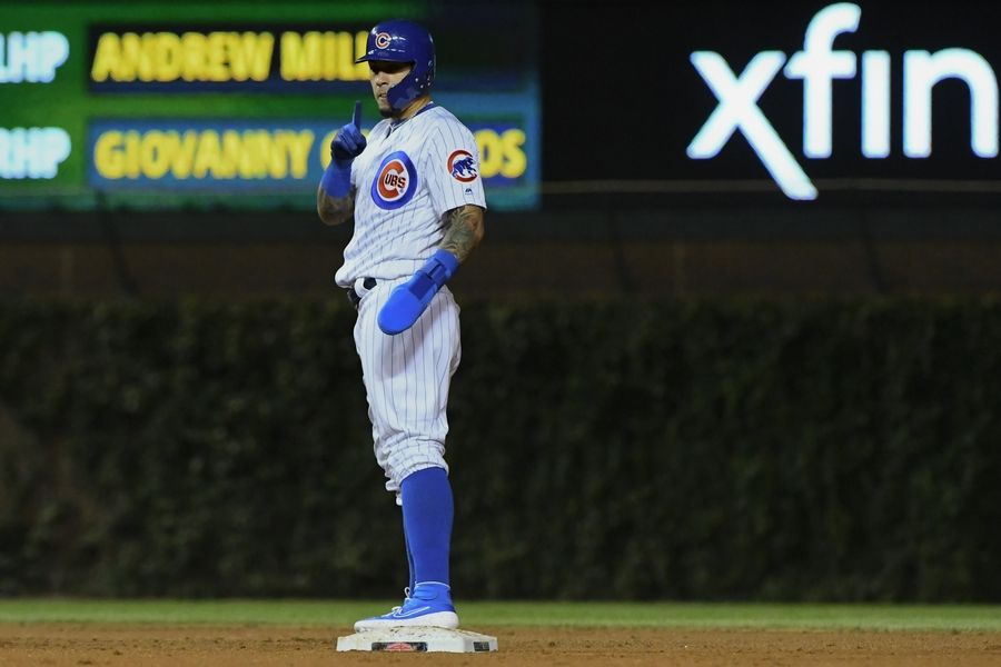 new styles 40e9d 84438 Chicago Cubs' Baez comes out swinging despite thumb injury