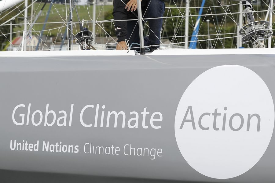 The boat Malizia as it is moored in Plymouth, England, in August. A group of more than 500 major institutional investors is urging governments to do more to tackle climate change, ahead of Monday's U.N. summit on the issue.