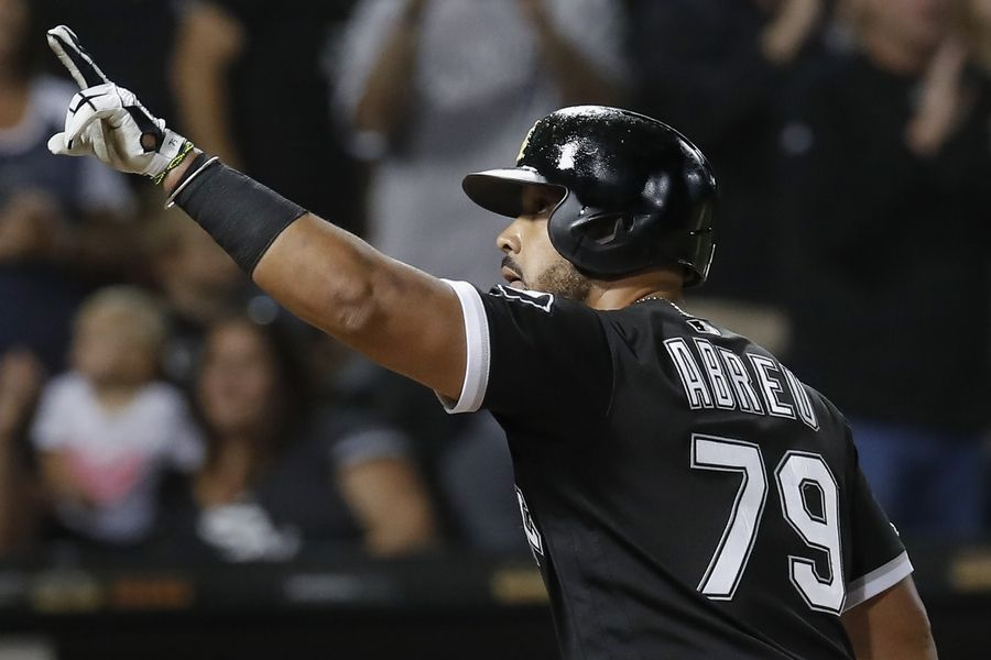 Chicago White Sox's Jose Abreu celebrate after hitting a three-run home run against the Los Angeles Angels during the seventh inning of a baseball game Saturday, Sept. 7, 2019, in Chicago.