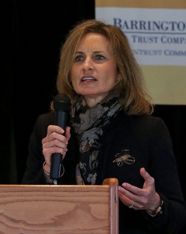 Susan Lenz, executive director of conservation for the Barrington Area Conservation Trust, speaks Thursday at the Barrington Area Chamber of Commerce's Outstanding Women Leaders Awards Luncheon in North Barrington. Lenz received the OWL Award for Mentorship and Education.