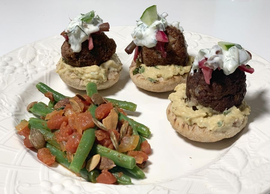 Cook of the Week Challenge contestant Kim Bradley made Beef and Lamb Sliders with Sauteed Green Beans and Tomatoes topped with Roasted Pumpkin Seeds.