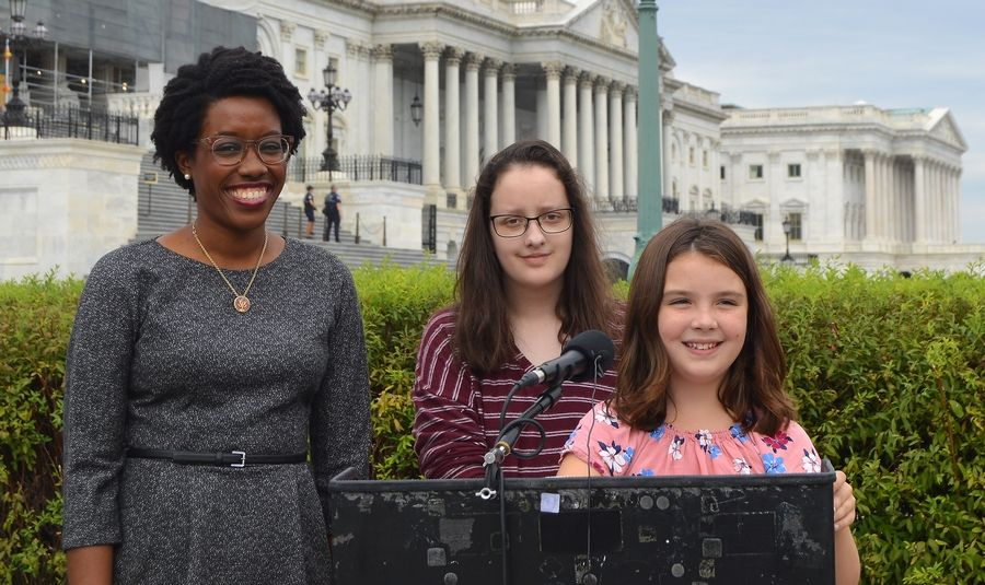 COURTESY OF LAUREN UNDERWOOD'S OFFICECongresswoman Lauren Underwood, a Naperville Democrat, was joined by West Aurora High School Senior Mary Horn from North Aurora and Maggie Hirschauer, 10, from Batavia for a news conference on the impact of gun violence on young people.