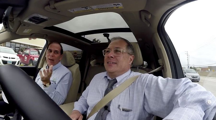 Schaumburg Mayor Tom Dailly, left, takes a ride with Daily Herald columnist Burt Constable, pointing out some of his favorite spots in town and talking about the village's past, present and future.