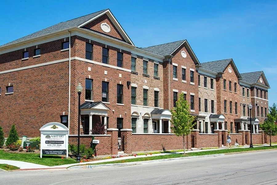 Courthouse Square in downtown Wheaton offers charming, all-brick, attached rowhouses with private courtyards.