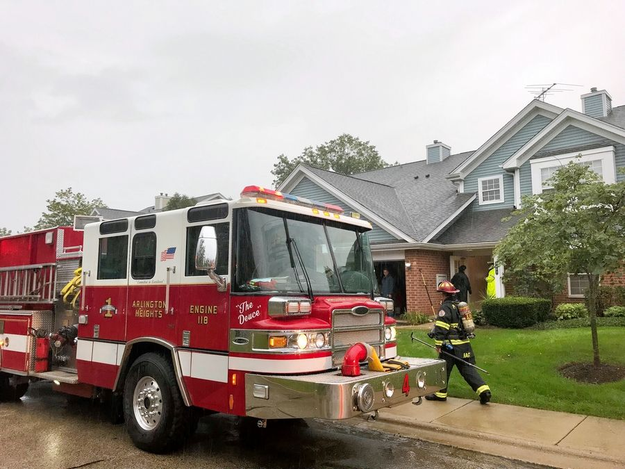 Firefighters and police responded to a lightning strike at a townhouse on the 1600 block of West Hawkes Street Friday morning in north Arlington Heights.