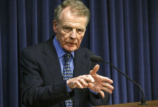 FILE - In this July 26, 2017, file photo, Illinois House Speaker Michael Madigan, D-Chicago, speaks at a news conference at the Capitol in Springfield, Ill. Even the normally unflappable speaker of the Illinois House had to pause at the sight of FBI agents entering the Democratic side of the Capitol building this week and later hauling away containers of documents from a lawmaker's office. Mike Madigan has looked this year as half a dozen Democrats have been charged or had agents raid their homes and offices. (Justin Fowler/The State Journal-Register via AP, File)
