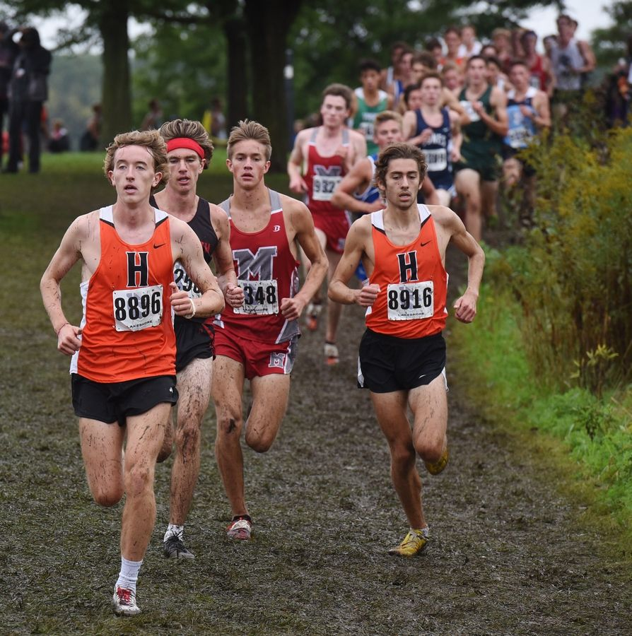 Eventual winner Josh Methner of Hersey has the lead more than halfway through during the boys varsity race of the Palatine Cross Country Invitational at Deer Grove East Forest Preserve in Palatine Saturday.