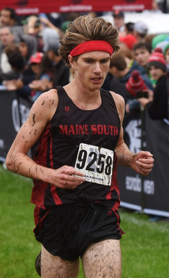 Maine South's Joey Kasch finishes second in the boys varsity race of the Palatine Cross Country Invitational at Deer Grove East Forest Preserve in Palatine Saturday.