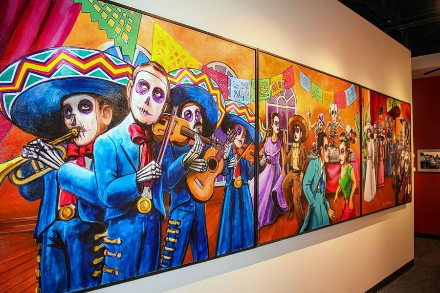 Chicago artist Robert Valadez was commissioned to paint a mural based on the famous artwork of the late Mexican illustrator Jose Guadalupe Posada. The mural is showcased at the entrance of the exhibit, which runs through Jan. 5, 2020, at the Dunn Museum.
