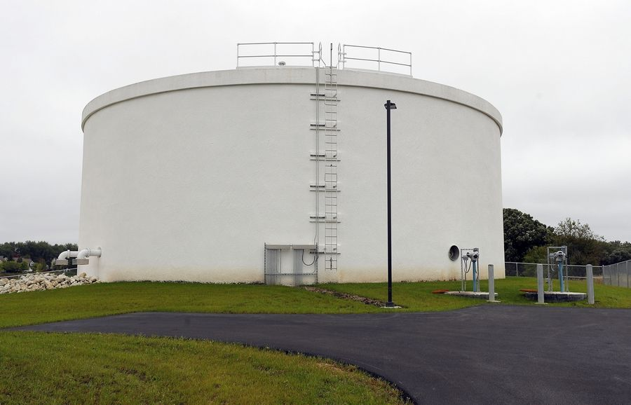 This million-gallon tank was built for Wauconda's new Lake Michigan water system.