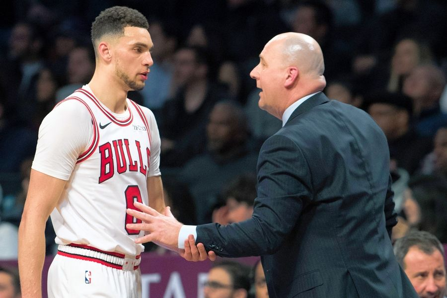 Chicago Bulls guard Zach LaVine talks to coach Jim Boylen during the second half of the team's NBA basketball game against the Brooklyn Nets, Friday, Feb. 8, 2019, in New York. The Bulls won 125-106. (AP Photo/Mary Altaffer)/