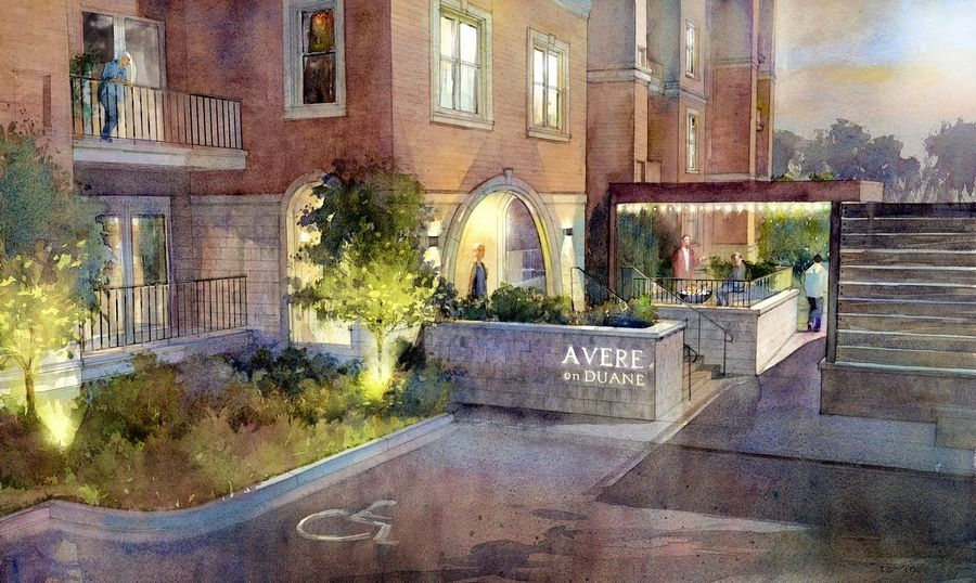 A rendering shows an entrance to Avere on Duane, a four-story apartment building coming to a site across the street from the Glen Ellyn Public Library.