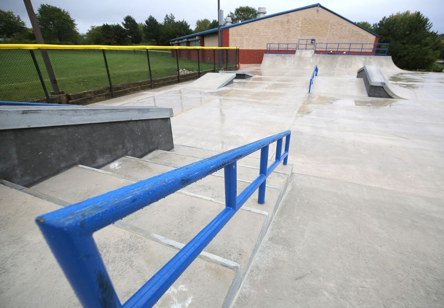 The Audubon Skate Park features concrete ramps, stairs, ledges and obstacles for skateboarders, BMX bikers and scooter riders.