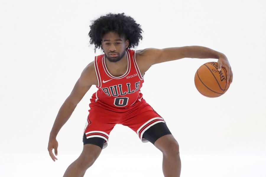 Chicago Bulls first-round draft pick Coby White poses for a photograph during the NBA basketball team's media day Monday, Sept. 30, 2019, in Chicago.