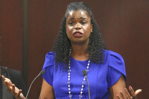 FILE - In this Aug. 27, 20119 file photo, Cook County State's Attorney Kim Foxx speaks at a news conference in Chicago. The latest twist in the Jussie Smollett saga is the revelation of a possible conflict of interest by the special prosecutor investigating why prosecutors dropped charges accusing the actor of staging a racist, homophobic attack on himself. Dan Webb disclosed this week he once co-hosted a political fundraiser for a figure central to his investigation, Cook County State's Attorney Kim Foxx. A Cook County judge must now decide if bias or the appearance of bias renders Webb's position untenable.