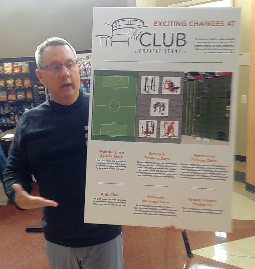 Brian Bechtold, director of golf and facilities for the Hoffman Estates Park District, explains a plan to drop tennis at The Club at Prairie Stone fitness center and redevelop the space for other programs during an informational meeting Saturday morning at the center.