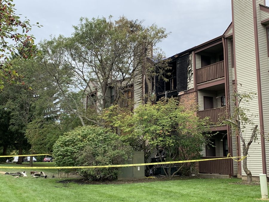 Seven people, including a firefighter, were injured in a fire Saturday morning at an apartment building on the 100 block of Salado Court in Schaumburg.