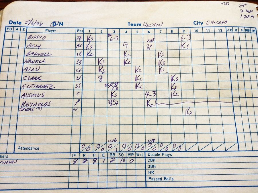 BRUCE MILES/bmiles@dailyherald.comHere's a look at the Cubs-Astros score book kept by Bruce Miles for May 6, 1998, when Cubs pitcher Kerry Wood struck out 20 Houston batters at Wrigley Field.