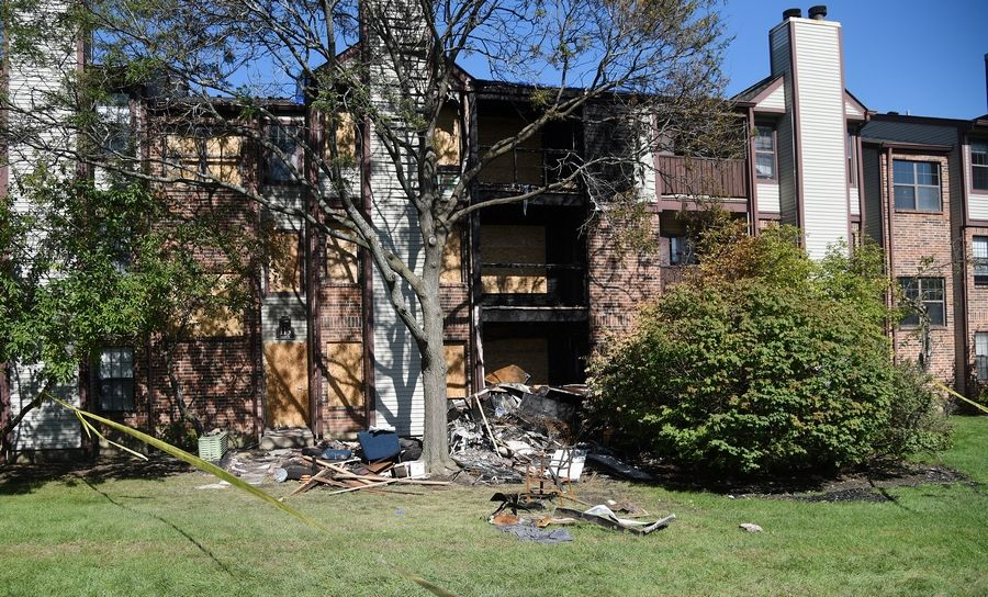 Three of the apartments were damaged by flames, and heavy smoke left the other three apartments uninhabitable in this Schaumburg apartment building after an early morning blaze on Saturday.
