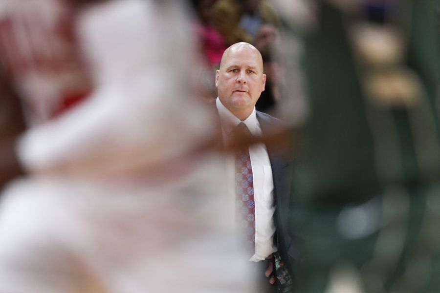 Chicago Bulls head coach Jim Boylen watches his team during the first half of an NBA preseason basketball game against the Milwaukee Bucks, Monday, Oct. 7, 2019, in Chicago.