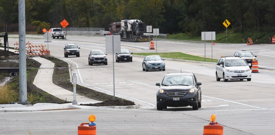 Drivers use the recently opened Millburn bypass of Route 45 at Grass Lake Road in Lindenhurst. A companion project planned for next year will close sidewalk and trail gaps nearby.