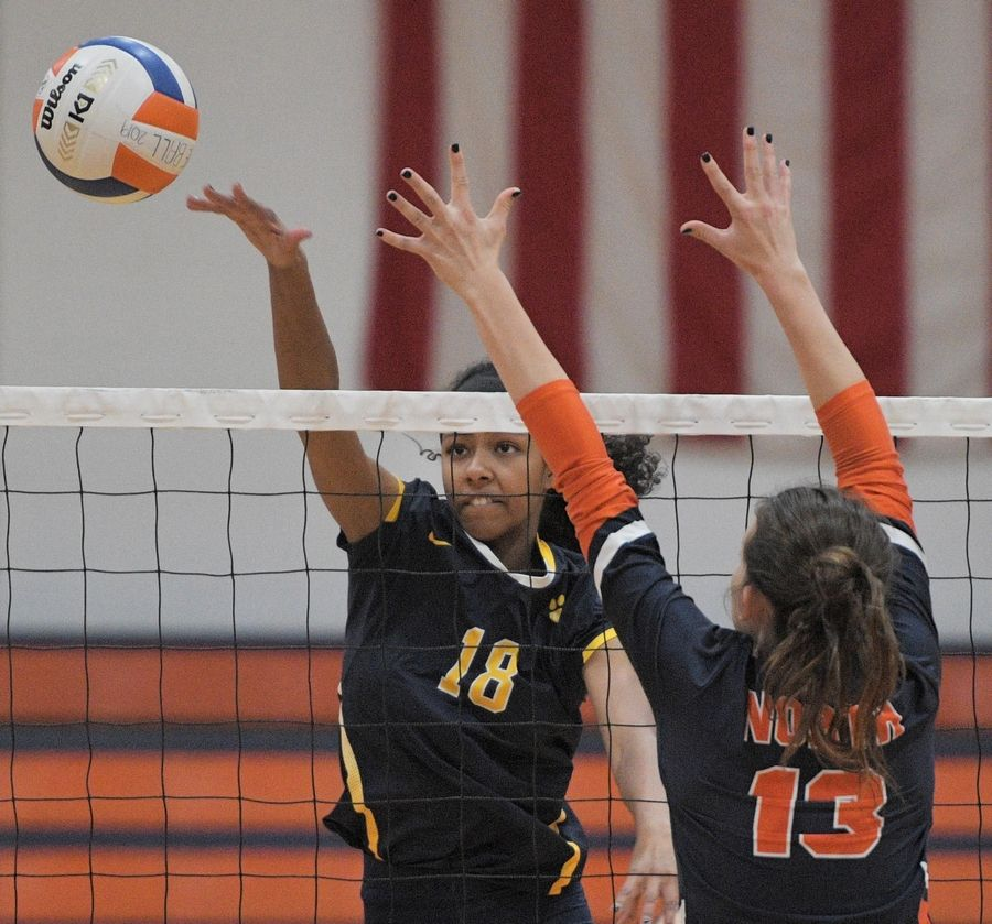Neuqua Valley's Liel Thomas gets a shot past Naperville North's Kara Oxenknecht in a girls volleyball game in Naperville Tuesday.