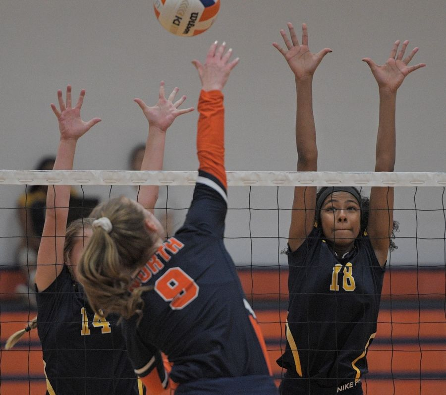 Neuqua Valley's Liel Thomas, right, and Lauryn Housholder try to block shot by Naperville North's Eva Hartung in a girls volleyball game in Naperville Tuesday.