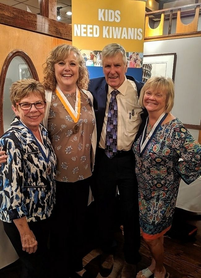 Gathering at the Kiwanis Recognition dinner are, from left:  Susan Liechti, Kiwanian of the Year; Connie Kurr, Amador Award recipient; Harrison Schneider, former club president and Kiwanian of the Year; and Lori Linkimer, recipient of the Hixson Award.