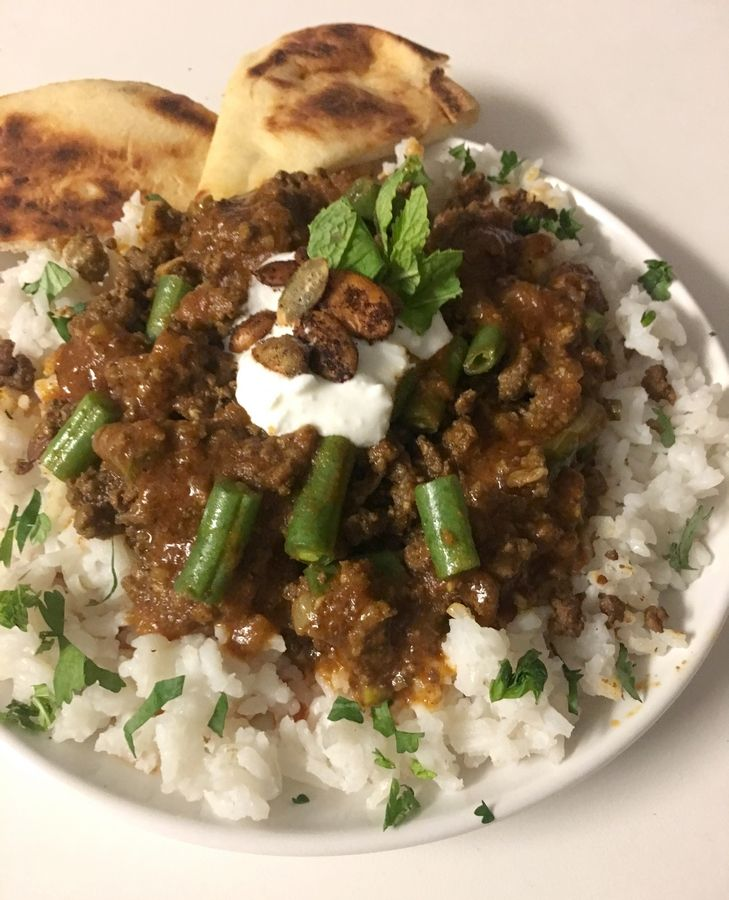 Cook of the Week Challenge contestant Ann Wayne made Lamb and Green Bean Curry with Candied Pumpkin Seeds.