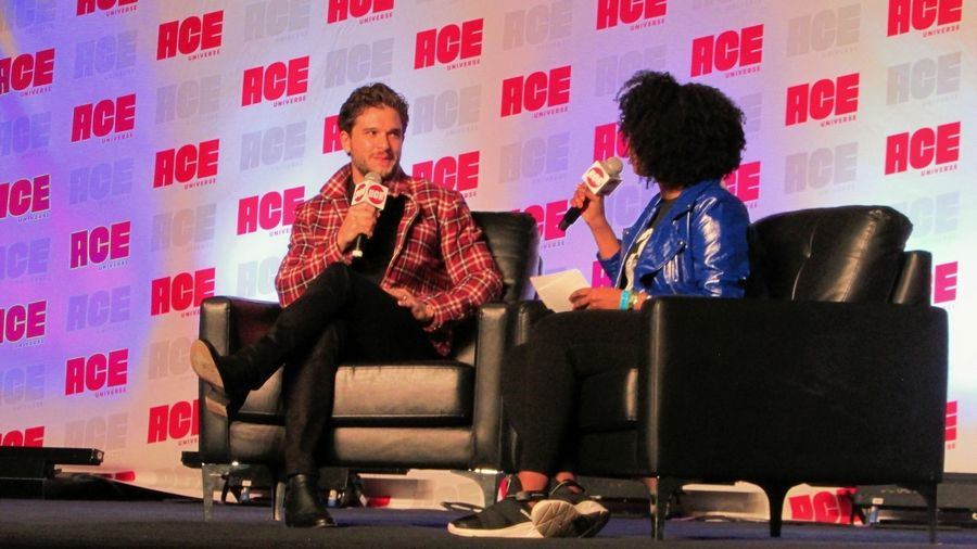 """Game of Thrones"" star Kit Harington chats Sunday with host Karama Horne at ACE Comic Con Midwest at the Donald E. Stephens Convention Center in Rosemont."