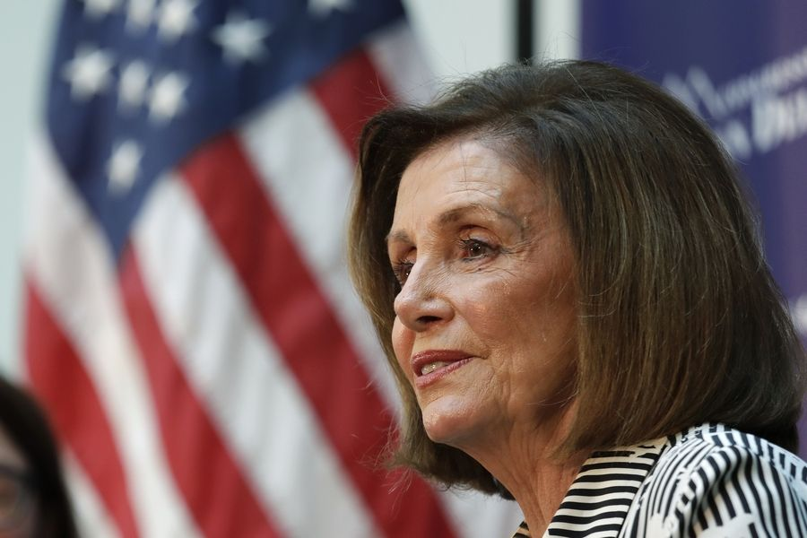 Speaker of the House Nancy Pelosi, a California Democrat, listens Tuesday during a talk about lowering the cost of prescription drug prices at Harborview Medical Center in Seattle.