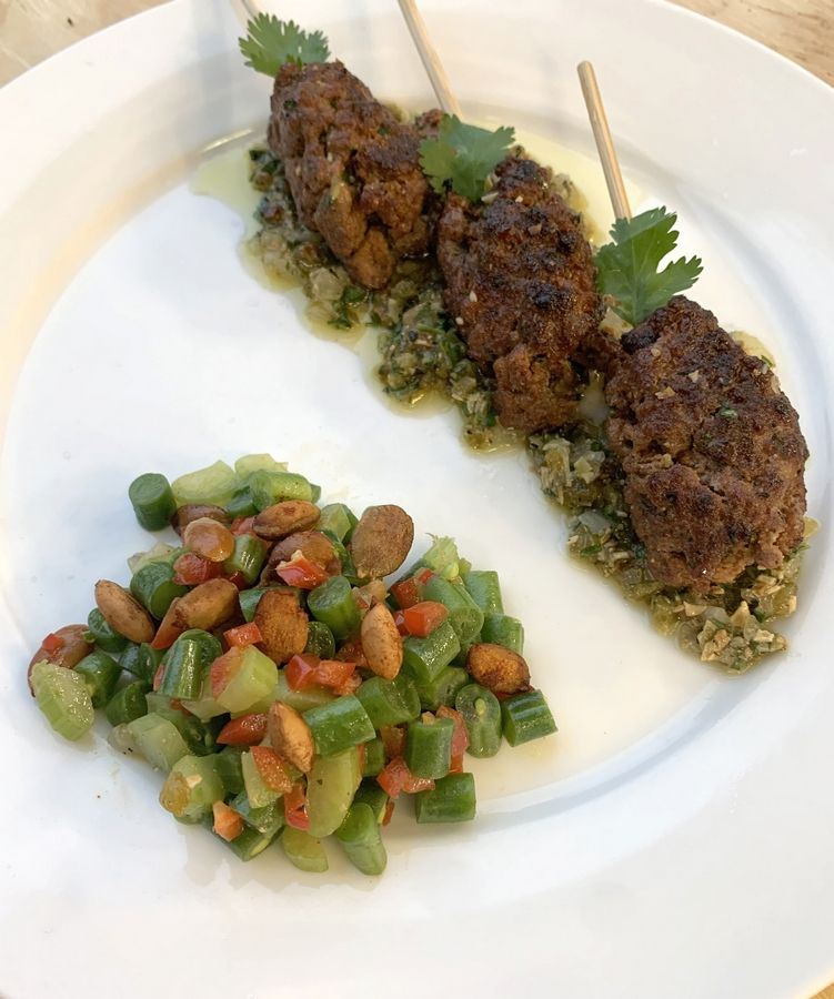 Cook of the Week Challenge contestant Lisa Eberhahn made Grilled Lamb Kabobs with Pepita Salsa and Green Bean Celery Salad with Mustard Vinaigrette and Sweet-Salty Pepitas.