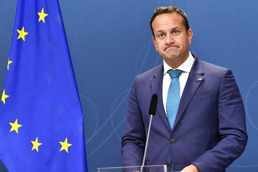 Irish Prime Minister Leo Varadkar grimaces during a press conference with Swedish Prime Minister Stefan Lofven in Stockholm, Thursday, Oct. 3, 2019. (Henrik Montgomery/TT News Agency via AP)