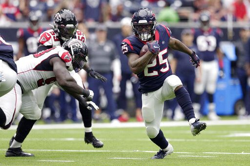 Houston Texans running back Duke Johnson (25) runs against the Atlanta Falcons during the second half of an NFL football game Sunday, Oct. 6, 2019, in Houston.