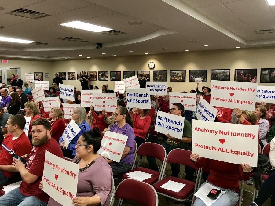 This side of the meeting room at Thursday's Palatine Schaumburg High School District 211 meeting did not back a proposed policy that would allow transgender students to have unrestricted locker room access.