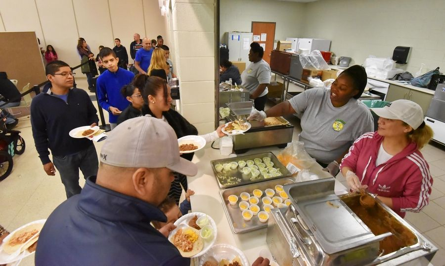 The cafeteria serves tacos Thursday during the Gurnee School District 56 Hispanic Heritage Celebration at Prairie Trail School in Wadsworth.